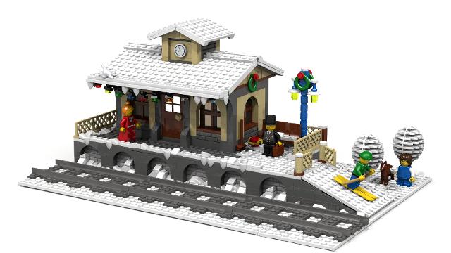 Winter village small train station
